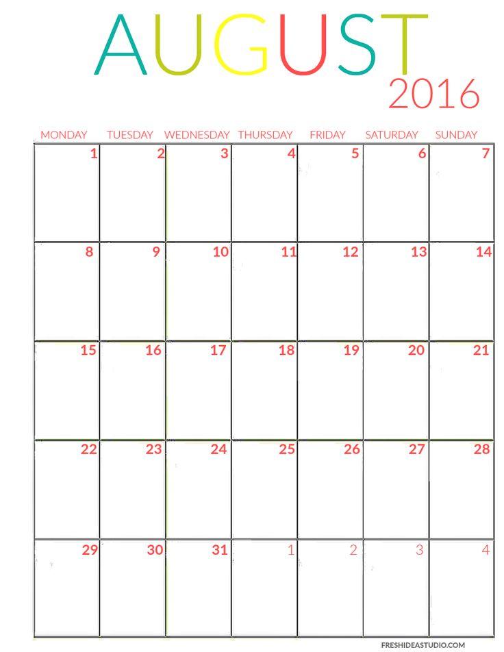 August Calendar color Printable