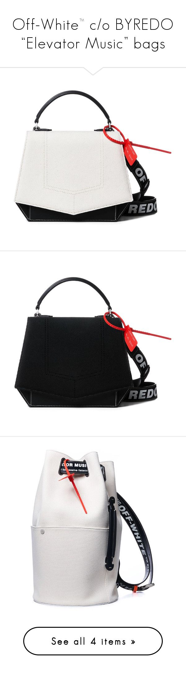 """""""Off-White™ c/o BYREDO """"Elevator Music"""" bags"""" by a4styled ❤ liked on Polyvore"""
