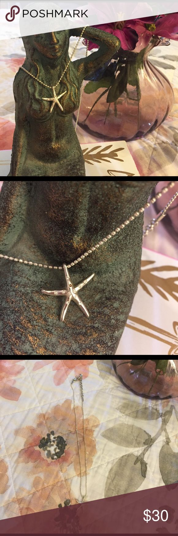 Brighton Starfish Necklace. Silver dainty chain one crystal is missing from starfish. Hardly noticeable when worn. Matching earrings for sale in separate listing, bundle and save on shippping! Brighton Jewelry Necklaces