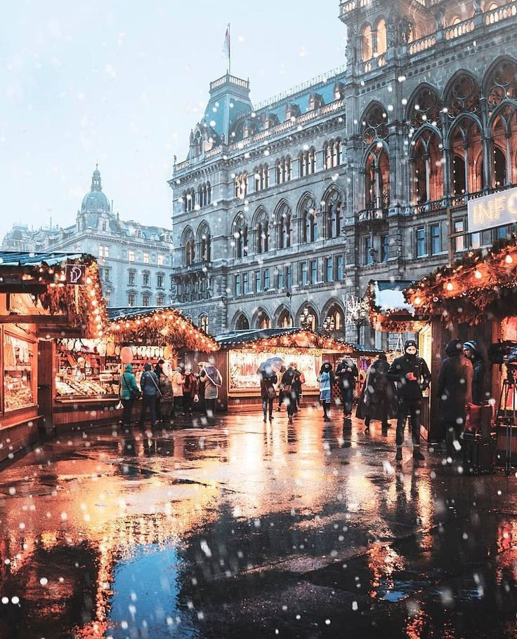 Snowy night at Christmas Market ~ Vienna, Austria …
