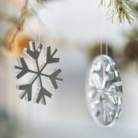 Snowflakes & snowballs in plexiglas mirror by Spagat on Etsy, $15.00