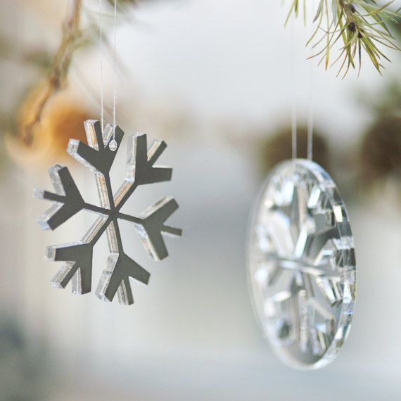 Snowflakes & snowballs in plexiglas mirror by Spagat on Etsy, $15.00