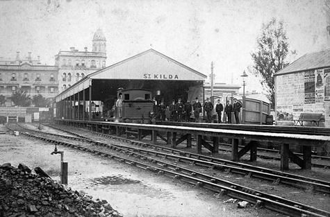 1885 ca. St Kilda Railway Station, Melbourne, Victoria, Australia. museumvictoria.com.au