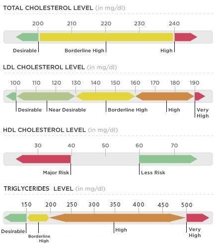 Normal Cholesterol Levels Chart - Total, LDL, HDL, Triglycerides