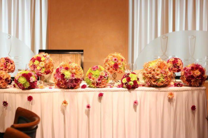 新郎新婦様からのメール 菊の「てまり」 ウラク青山様 : 一会 ウエディングの花