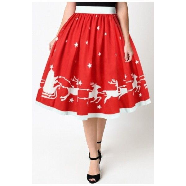New Arrival High Waist Christmas Elk Pattern Midi A-Line Flared Skirt ($26) ❤ liked on Polyvore featuring skirts, high waisted midi skirt, skater skirt, red high waisted skirt, high-waist skirt and midi skater skirt
