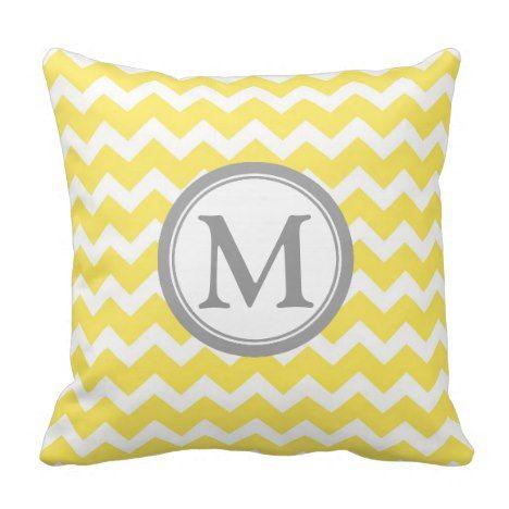Yellow Grey Chevron Monogram Decorative Pillow #monogram #gifts #cushions #pillows