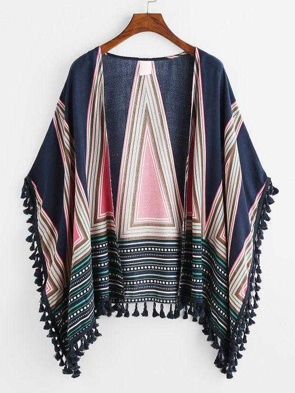 Tassel Trim Geo Print Kimono -SheIn(Sheinside)