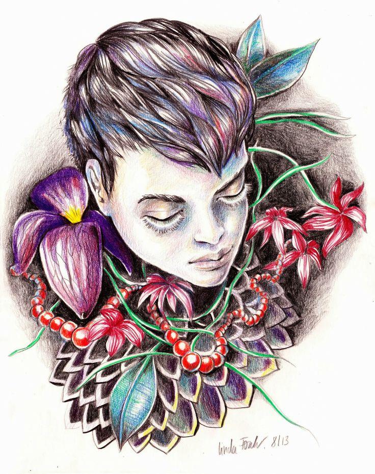 Fashion Illustration, Coloured Pencil