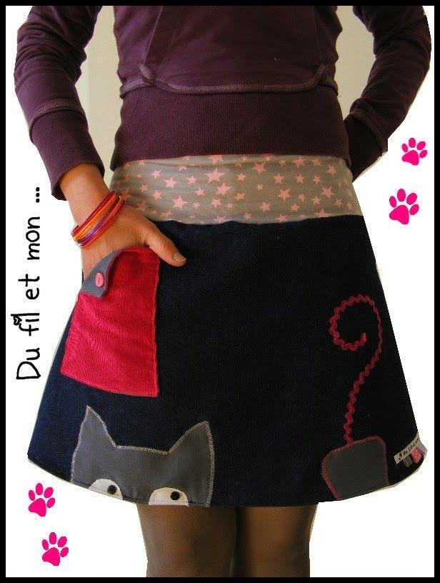 Du fil et mon... Jupe chat et poche et ...souris!