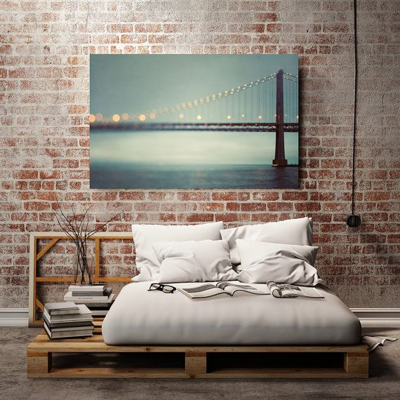 Abstract Canvas Art Teal Canvas Wall Decor by EyePoetryPhotography (Home & Living, Home Décor, Abstract Canvas Art, Teal, Canvas Wall Decor, Bay Bridge, San Francisco, Bedroom Art, Large Print, Teal Wall Art, Living Room Art, Statement Piece, Dreamy Photography)