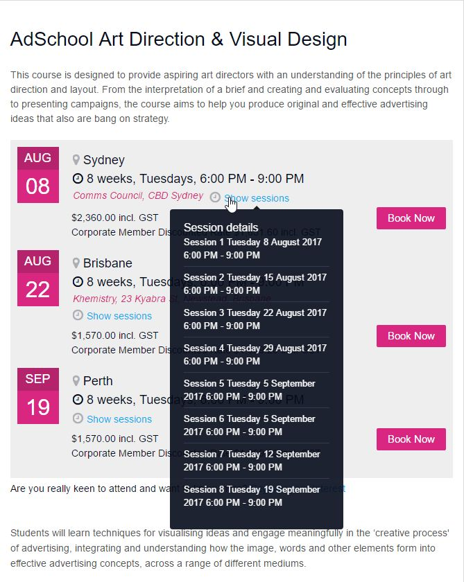Event Template Page - http://www.communicationscouncil.org.au/