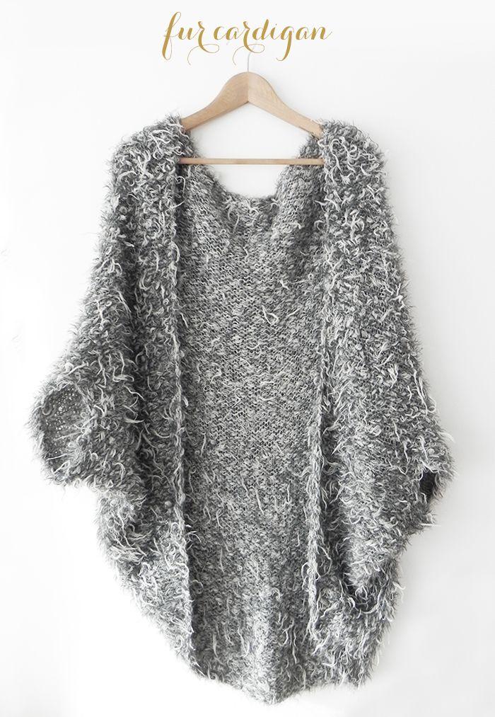 knit fur cardigan