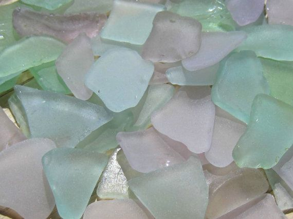 Genuine sea glass (beach glass) in lavender purple, aqua blue and soft green. Ideal accents for a coastal wedding, beach house decor, or to use in