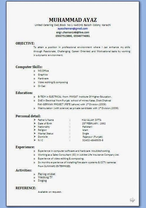 Great Resume Template For Wordpad Picture di 2020