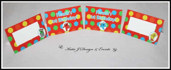 Sesame Street Place Cards #Sesame #Street #Personalised #Party #Decorations #Baby #Cute #Shower #Elmo #Oscar #TheGrouch #Cookie #Monster #Unisex #Shower #Birthday #Bunting #Party #Ideas #Banners #Cupcakes #WallDisplay #PopTop #JuiceLabels #PartyBags #Invites #KatieJDesignAndEvents #Creative