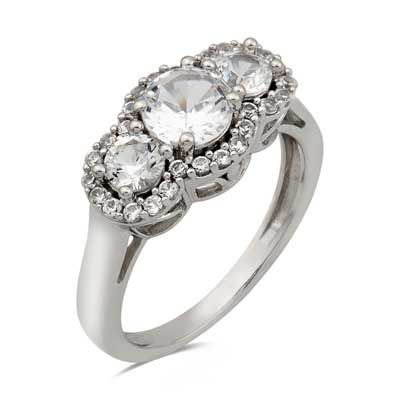 Lab-Created White Sapphire Three Stone Ring in Sterling Silver - Size 7