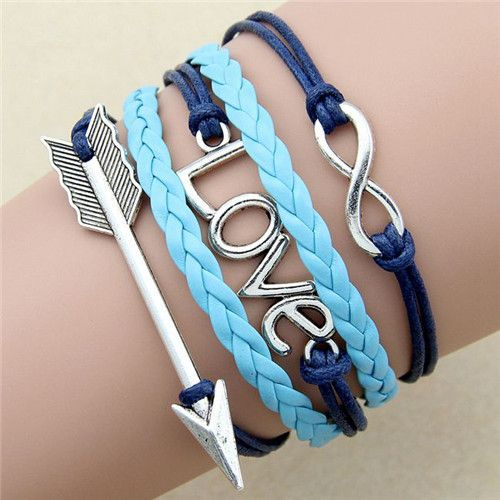 Ocean Arrow Love Infinity Charm Braided Bracelet - Blues www.evcostudio.online Charm Bracelet Charm Bangle Silver Charm Love Infinity Arrow Bracelet Blue Leather Women's Accessories Jewellery Daughter Gift Birthday Present for Girls