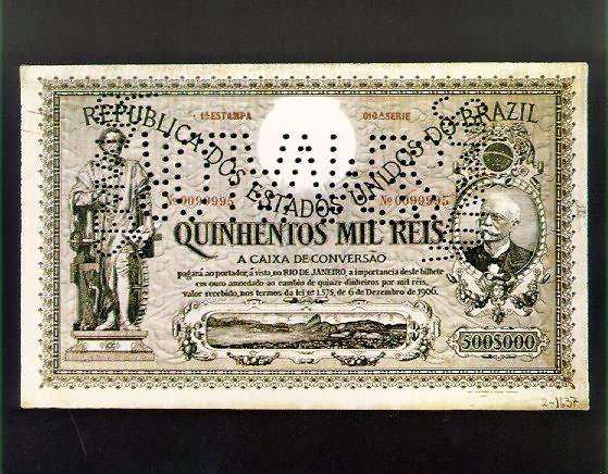 História do Dinheiro no Brasil Cédula da Caixa de Conversão  Em 1906 foi criada a Caixa de Conversão, para combater crise no mercado do café