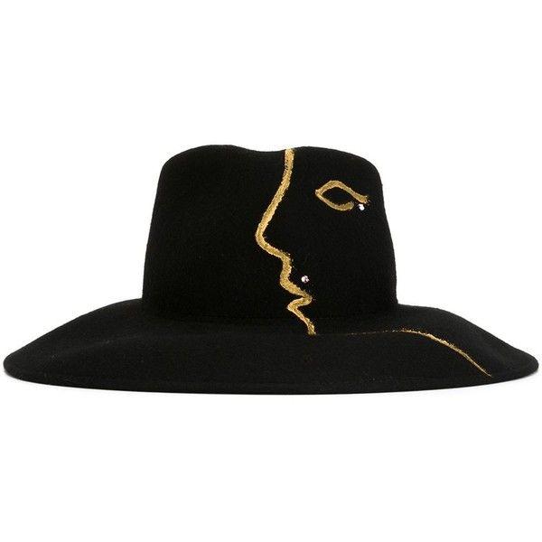 Celine Robert Lanine Felt Hat ($409) ❤ liked on Polyvore featuring accessories, hats, black, black felt hat, felt hat and black hat