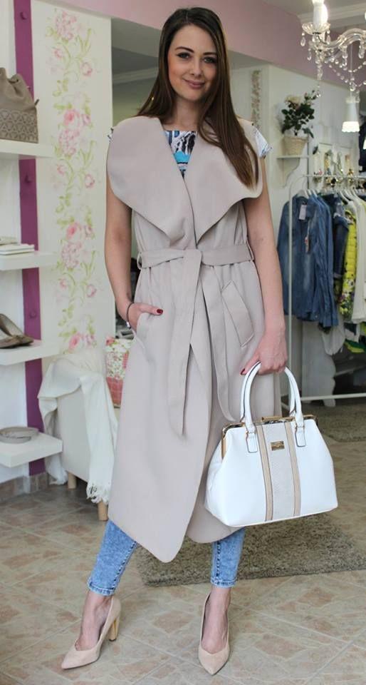 Beige long waistcoat