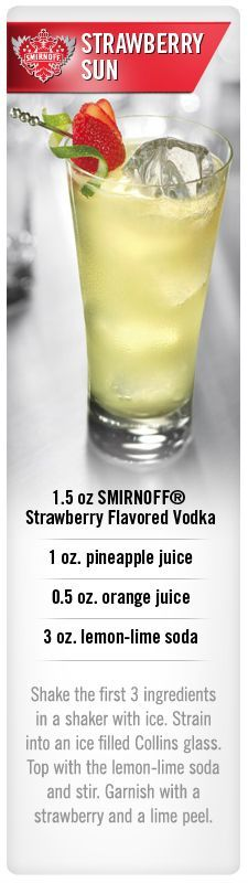 Smirnoff Strawberry Sun drink recipe with Smirnoff Strawberry flavored vodka, pineapple juice, orange juice and lemon-lime soda. Could change flavor of vodka.