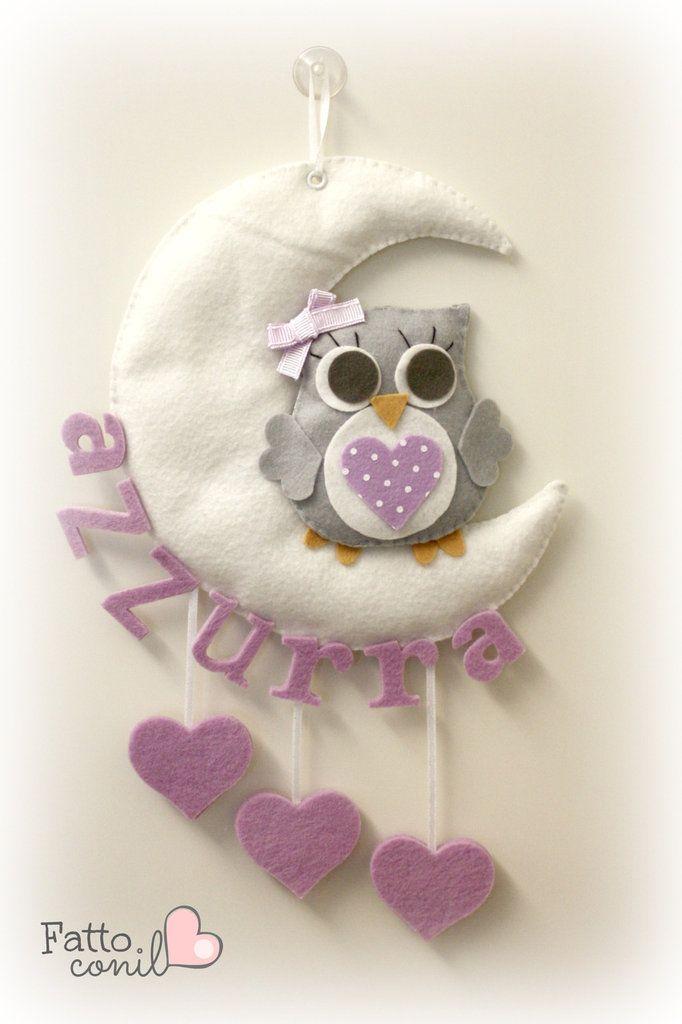 fiocco nascita luna con gufetto e cuori pendenti personalizzabile , by fattoconilcuore, 34,00 € su misshobby.com