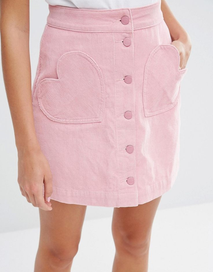 Image 3 of Lazy Oaf Button Front Mini Skirt With Heart Pockets In Cord