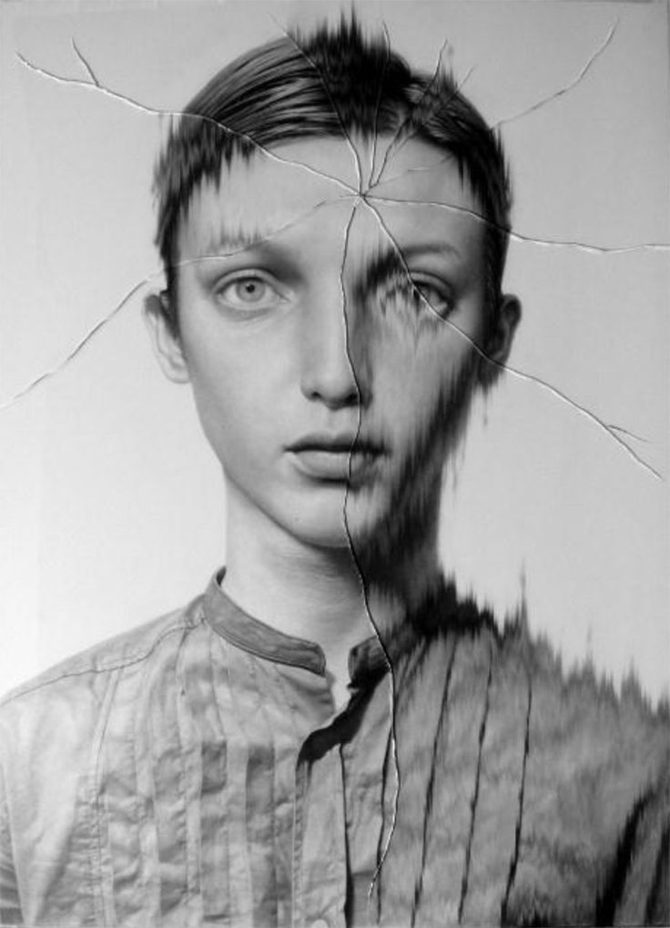 cracked portrait #1, 2012 by taisuke mohri | pencil on paper/glass