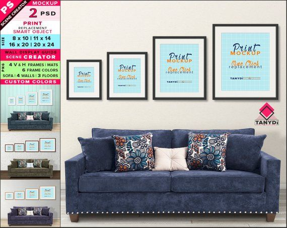 Wall Display Guide 8x10 11x14 16x20 20x24 Scene Creator Photoshop Print Mockup Vertical Horizontal Frames Blue Sofa Interior Wdg 4 4 Wall Display Frame Wall
