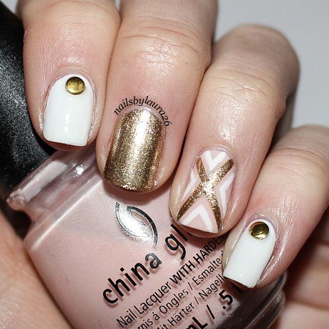 Sheer pink, white and gold nail art