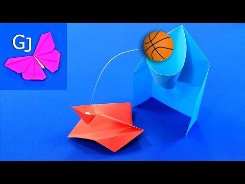 Оригами игра — баскетбольное кольцо и катапульта - YouTube