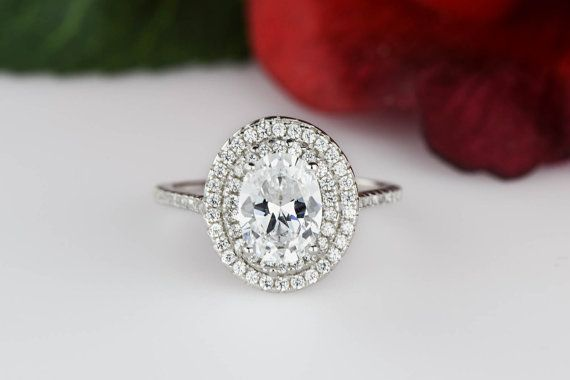 1.5 ctw Oval Double Halo Ring Engagement Ring by TigerGemstones