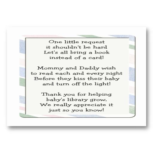 Baby Shower Card Word ~ Baby shower book request insert card babies showers and