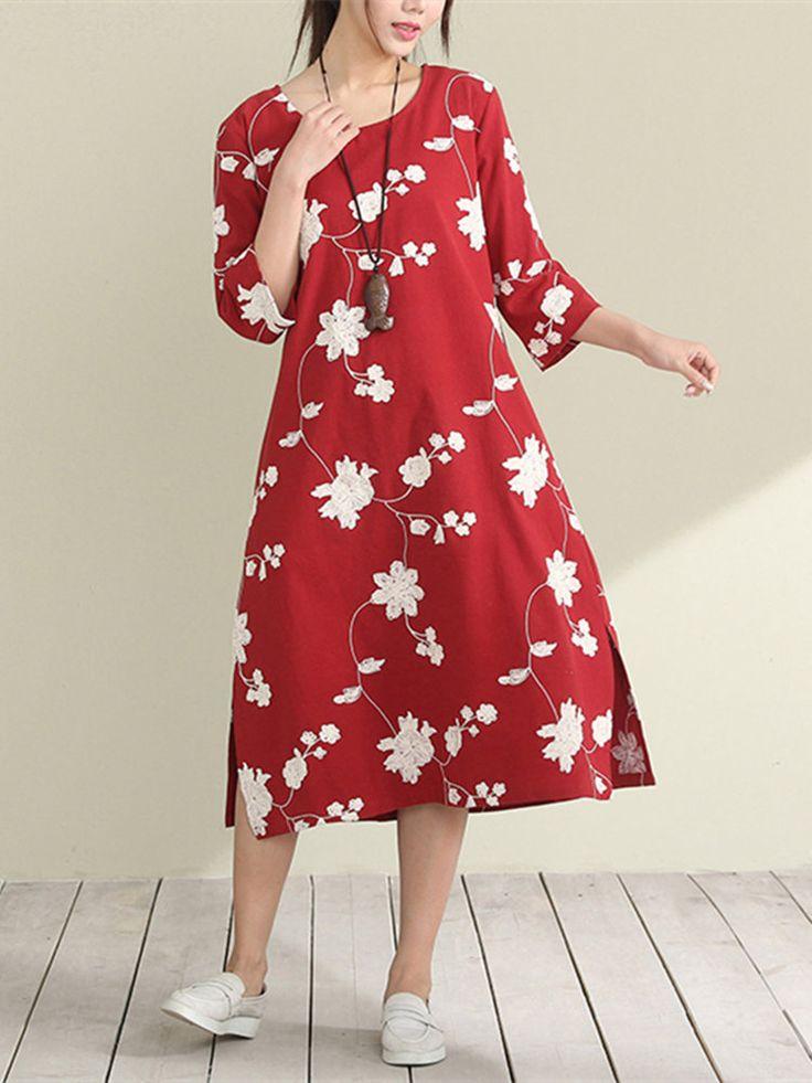 Vintage Women Floral Printed Side Split Half Sleeve Dresses
