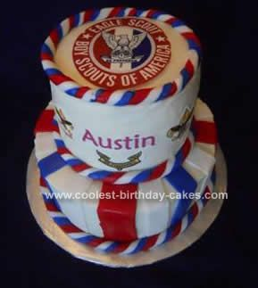 Homemade Eagle Scout Cake: This Eagle Scout Cake is a two tiered cake for an Eagle Scout. The bottom tier is chocolate cake with raspberry filling and the top tier is vanilla cake