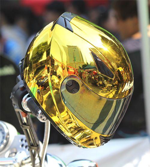 Masei 830 DOT Motorcycle Helmet CHROME GOLD size M L XL