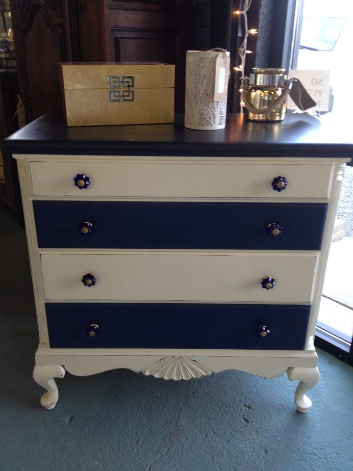 vintage cobalt knobs old white with custom navy chalk paint by annie sloan pair beautifully. Black Bedroom Furniture Sets. Home Design Ideas