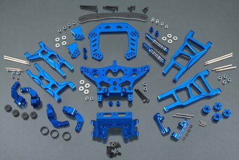 Integy T8031Blue Aluminum Evolution Conversion Set Traxxas Rustler ...