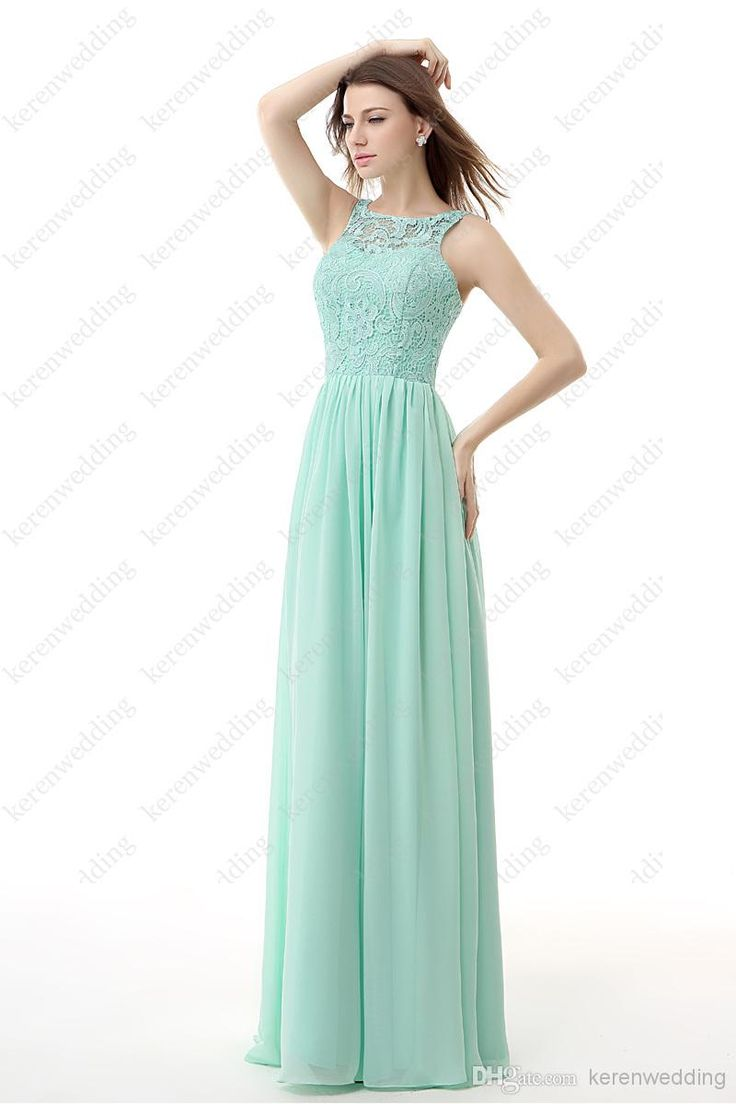 2015 Long Lace Bridesmaid Dresses In Stock Sheer Jewel Neck A Line ...