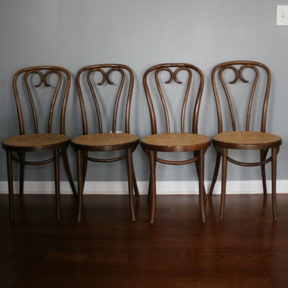 4 Bentwood Chairs. Cane Chairs Minimalist Caning by RhapsodyAttic