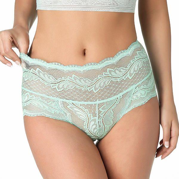 High Waist Lace Jacquard Panties Breathable Cotton Women Underwear