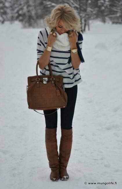 perfect winter look striped sweater black skinnies brown boots and bag gold jewelry. Black Bedroom Furniture Sets. Home Design Ideas
