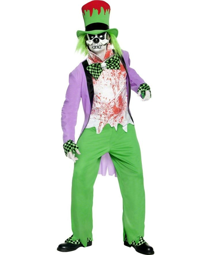 Costume clown malefico adulti Halloween: Costume da clown malefico da uomo costituito da sette elementi: Una camicia insanguinata con un farfallino decorato con un teschio, una lunga giacca viola, pantaloni verdi con elastico in vita,...