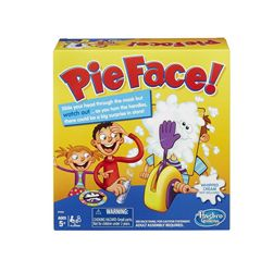 Hasbro Pie Face Game  Hilarious Pie Face game might just splat you in the face Pie-throwing arm could go off at any moment Score a point every time you turn the handle without getting splatted Includes 1 pie thrower, 1 throwing arm, 2 handles, chin rest, splash guard mask, spinner and sponge.