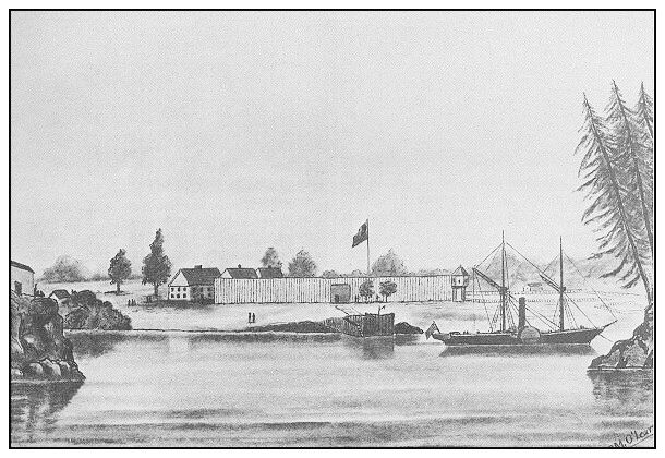 FORT VICTORIA in 1845 [drawing by M O'Leary]  In 1843, the Hudson's Bay Company sent James Douglas to build a fort some distance north of Fort Vancouver. This fort on Vancouver Island became the new headquarters of the district.  The signing of the Oregon Treaty in 1846, settled the matter of Fort Vancouver's further suitability as the company's headquarters. The fort was the beginnings of a settlement that eventually grew into the modern Victoria, BC.