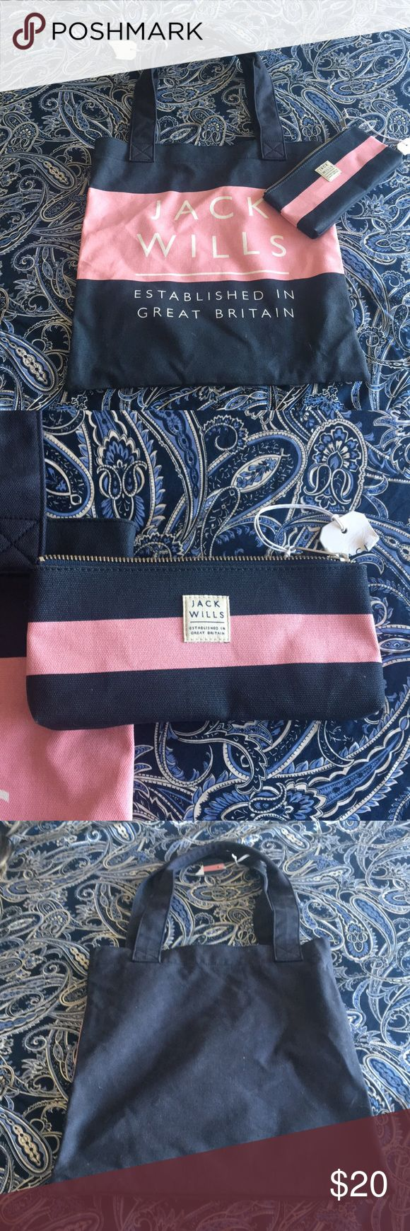 NWT Jack Wills clutch tote&wallet Pink and Navy canvas tote with matching wallet. Straight from London flagship! Bags Totes