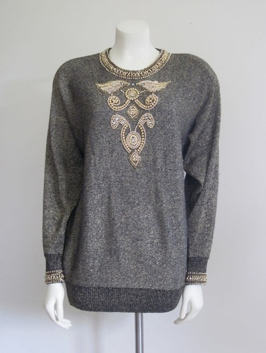 Vintage 1980s Gold Beaded Sweater