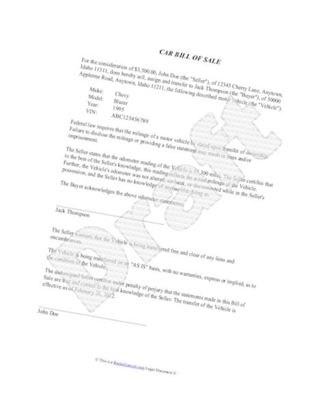 Example Of Bill Of Sale Template For Car Picture Of Bill Of Sale