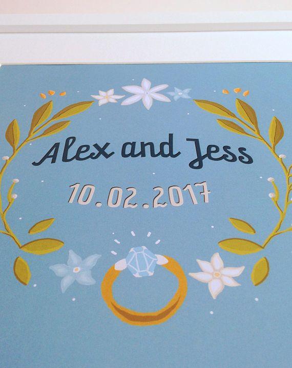 Custom Wedding Gift, engagement gift, wedding gift, custom anniversary print, custom anniversary gift, personalised anniversary gift